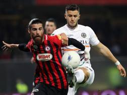 Lottanno Marinelli e Vrioni (autore del gol). Lapresse
