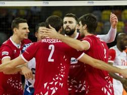L'esultanza dei giocatori di Trento durante la finale. Fivb.com