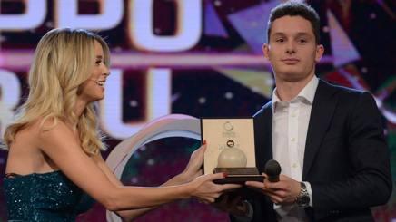 Filippo Tortu, 20 anni, riceve il premio di Uomo dell'anno ai Gazzetta Sports Awards. Bozzani Fabio