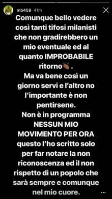Il messaggio su Instagram di Balotelli