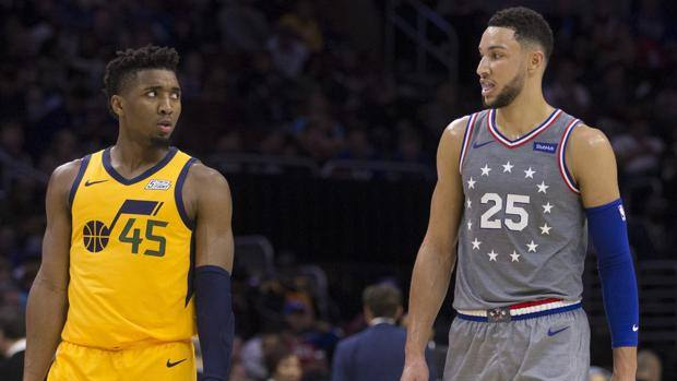 Donovan Mitchell e Ben Simmons, secondo e primo nel Rookie of the Year 2018. Afp
