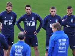 La Nazionale a rapporto dal c.t. Roberto Mancini. LaPresse