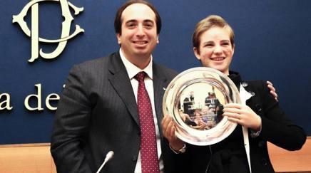 Bebe vio, 21 anni, riceve il Leader Innovation Award alla Camera. Ansa