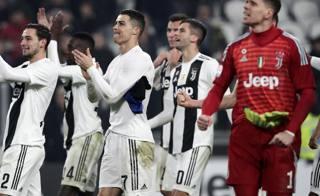 CR7 e la Juve festeggiano la vittoria sull'Inter. Afp
