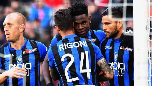 L'esultanza dell'Atalanta per il gol dell'1-0. Getty Images