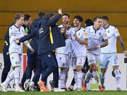 Il Verona festeggia il gol decisivo di Matos. Lapresse