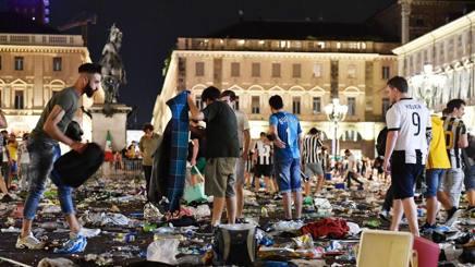 Piazza San Carlo la sera del 3 giugno 2017. ANSA