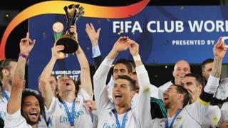 Il Real Madrid esulta per il successo nel Mondiale per club 2018. Afp