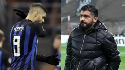 Icardi deluso per il mancato approdo dell'Inter agli ottavi di Champions, Gattuso eliminato da tutto col Milan. Ap/Epa