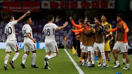 L'esultanza del Kashima Antlers dopo il gol del 2-1. Epa