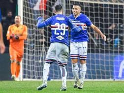 L'esultanza per il gol di Caprari. ANSA