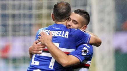 L'esultanza di Caprari e Quagliarella, entrambi a segno contro il Parma. LaPresse