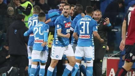 L'esultanza del Napoli per il gol di Milik. Ansa