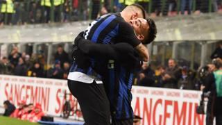 Mauro Icardi e Lautaro Martinez dopo il golall'Udinese. LaPresse