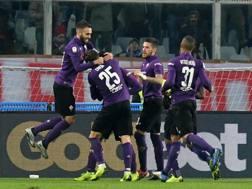 L'esultanza della Fiorentina. Ansa