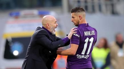 Stefano Pioli e Kevin Mirallas, allenatore e attaccante della Fiorentina. Ansa