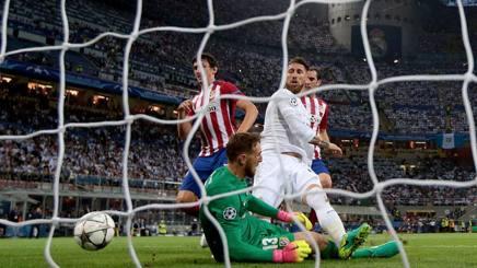 Sergio Ramos nella finale tra Real e Atletico Madrid del 2016. Getty