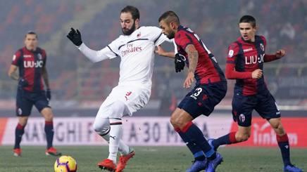 Gonzalo Higuain, 31 anni, in azione a Bologna. LaPresse
