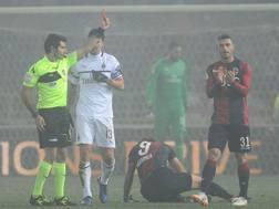 Il momento del doppio giallo a Bakayoko contro il Bologna. Getty