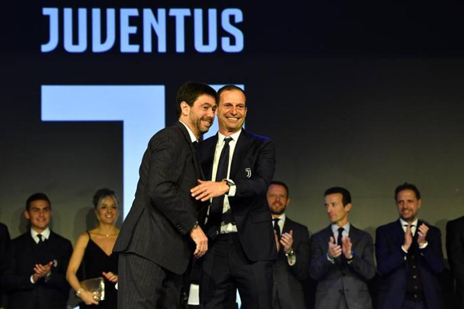 Andrea Agnelli con Massimiliano Allegri. Getty