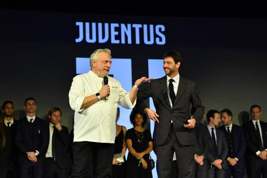 Andrea Agnelli con lo chef Davide Scabin. Getty