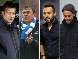 Roberto D'Aversa, Leonardo Semplici, Roberto De Zerbi e Filippo Inzaghi, allenatori di Parma, Spal, Sassuolo e Bologna