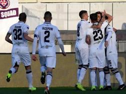 L'esultanza dei giocatori del Parma. Ansa