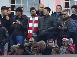 Novak Djokovic in tribuna per Stella Rossa-Psg di Champions League. AFP