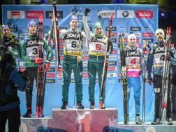 Lukas Hofer e Dorothea Wierer sul podio più alto. Getty