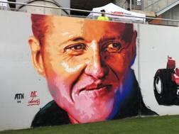Un murales dedicato a Michael Schumacher al circuito del Montmelò