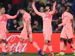 Leo Messi festeggia il gol del vantaggio. Getty
