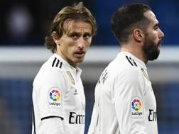 Tutta la delusione di Luka Modric, centrocampista del Real Madrid. Afp