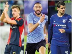 Krzysztof Piatek,attaccante del Genoa, Yannick Carrasco,ala del Dalian Yifang, Alvaro Morata, attaccante del Chelsea. ANSA/IP