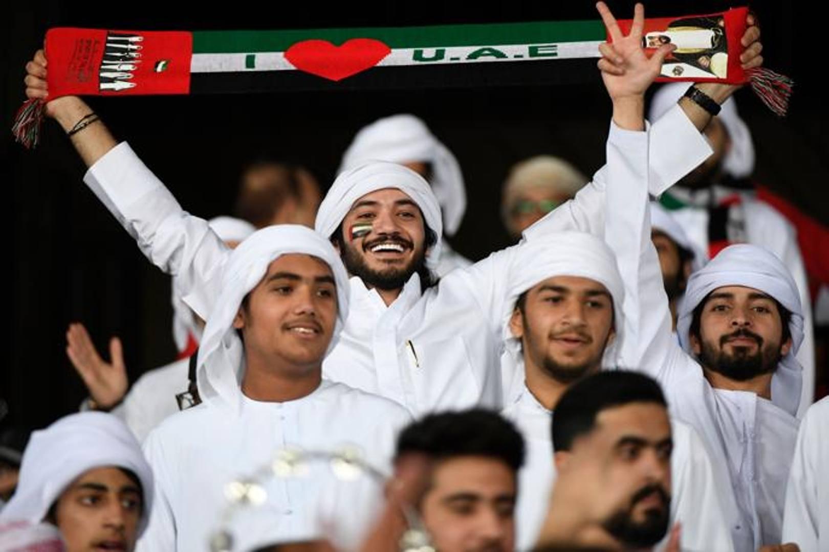Zayed Sports City stadium, Abu Dhabi: Un tifoso degli Emirati durante la sfida contro l'India, EPA