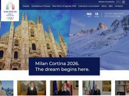 Uno screenshot del sito che lancia la candidatura di Milano e Cortina ai Giochi invernali 2026