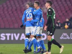 La festa dei giocatori del Napoli. Lapresse