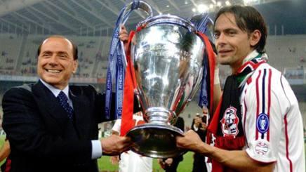Silvio Berlusconi e Filippo Inzaghi, con la Champions vinta ad Atene