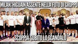 Uno dei tanti sfottò social divenuti virali sull'assenza di Higuain nella foto di gruppo del Milan