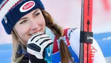 La sciatrice statunitense (di Val Colorado) Mikaela Shiffrin, 23 anni. In carriera vanta già 2 Coppe del Mondo assolute e 5 di slalom. AFP