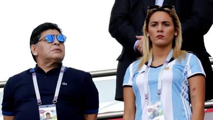Diego Armando Maradona con la ex fidanzata Rocio Oliva. Epa
