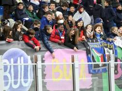 Uno scorcio del primo anello di San Siro, riempito da 11 mila bambini per Inter-Sassuolo. Ansa
