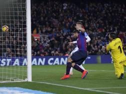 Il gol del momentaneo 2-1 segnato da Luis Suarez, 31 anni. Ap