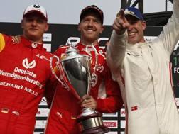 Da sinistra Mick Schumacher, Vettel e Kristensen. Ap