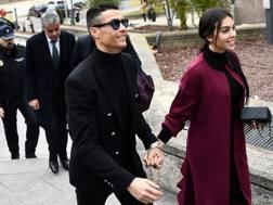 Cristiano Ronaldo e Georgina a Madrid. Afp