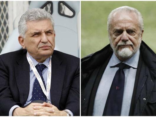 Il presidente del Frosinone, Maurizio Stirpe, e quello del Napoli, Aurelio De Laurentiis