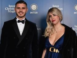 Mauro Icardi e Wanda Nara alla festa di Natale interista. Getty