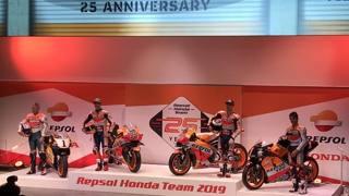Da sinistra, Doohan, Marquez, Lorenzo e Criville alla presentazione della Honda