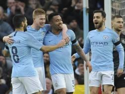 L'esultanza dei calciatori del Manchester City. AP