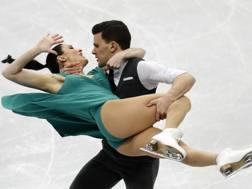 Charlene Guignard e Marco Fabbri, 29 anni entrambi, nel libero di Minsk. Ap
