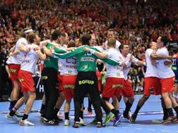 L'esultanza danese per la vittoria mondiale. Afp